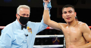 Vergil Ortiz Jr halted Maurice Hooker in seven rounds in Texas on Saturday Photo Credit: Photo Credit: Tom Hogan-Hogan Photos/Golden Boy