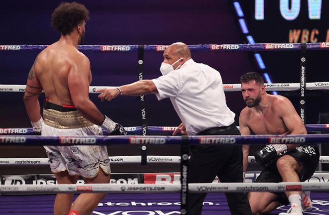 Nick Webb picked up an explosive second round win over Erik Pfeifer Photo Credit: Mark Robinson/Matchroom Boxing