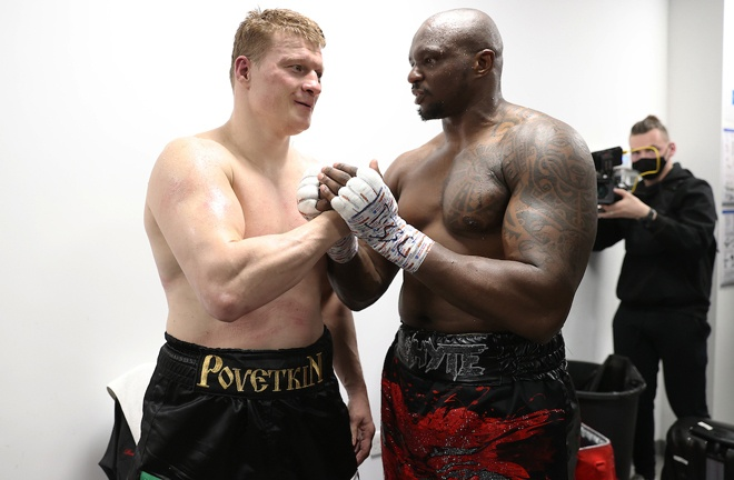 Povetkin and Whyte embraced following their battle Photo Credit: Mark Robinson/Matchroom Boxing