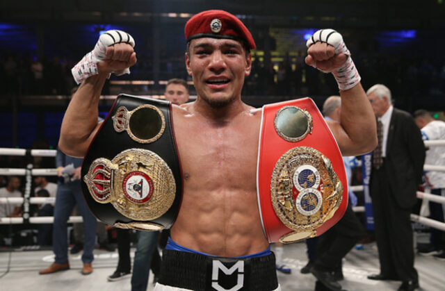 Murodjon Akhmadaliev retained his WBA and IBF Super Bantamweight titles with a fifth round stoppage of Ryosuke Isawa in Uzbekistan Photo Credit: Ed Mulholland/Matchroom Boxing USA