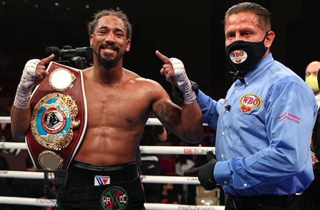 Andrade made a fourth successful defence of his WBO title and Promoter Eddie Hearn called for a unification Photo Credit: Ed Mulholland/Matchroom