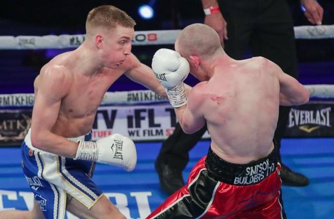 Jack Bateson overcame Joe Ham on points in their Super Bantamweight clash Photo Credit: Scott Rawsthorne/MTK Global
