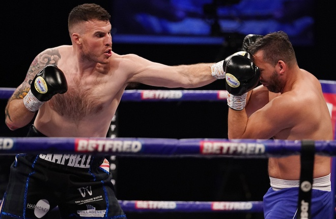 Heavyweight Nick Campbell made a winning start overpowering Petr Frohlich Photo Credit: Dave Thompson/Matchroom Boxing