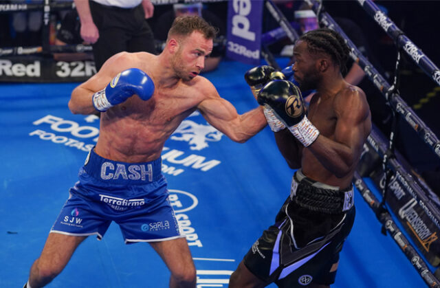 Felix Cash added the British Middleweight title to his Commonwealth crown with a destructive third round stoppage of Denzel Bentley at York Hall Photo Credit: Round 'N' Bout Media/Queensberry Promotions