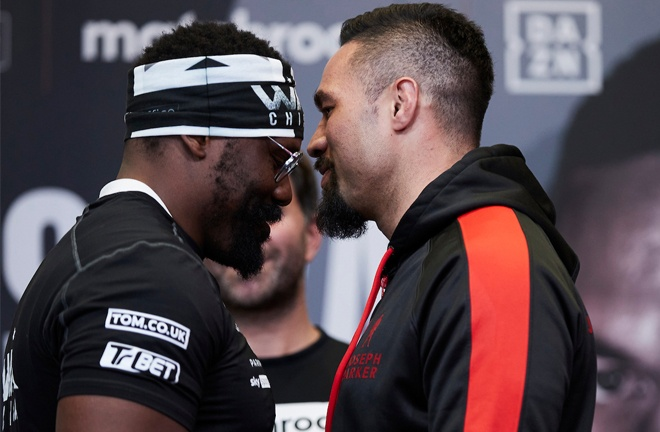 Chisora and Parker came face-to-face at Thursday's press conference Photo Credit: Mark Robinson/Matchroom Boxing