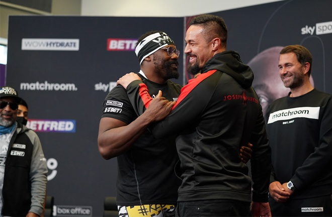 Chisora and Parker were all smiles at Thursday's press conference Photo Credit: Dave Thompson/Matchroom Boxing