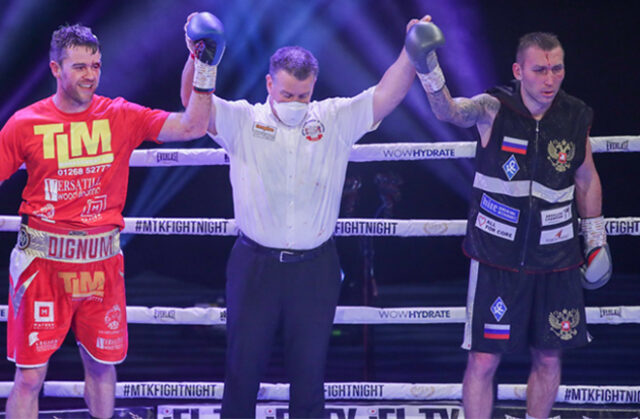 Danny Dignum and Andrey Sirotkin were held to a split decision draw in Bolton on Saturday Photo Credit: Scott Rawsthorne/MTK Global