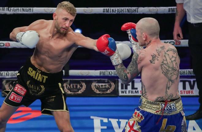 Light Heavyweight Lewis Edmondson stopped Luke Blackledge in three rounds Photo Credit: Scott Rawsthorne/MTK Global