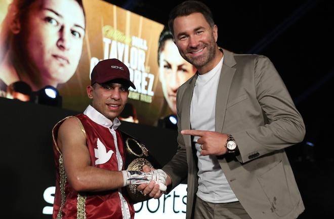 Farooq alongside promoter Eddie Hearn Photo Credit: Mark Robinson/Matchroom Boxing