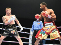 Jamel Herring retained his WBO Super Featherweight title with a sixth round stoppage of Carl Frampton in Dubai Photo Credit: D4G Promotions