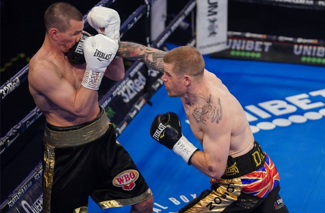 Callum Johnson ended over two years out of the ring to stop Emil Markic in two rounds Photo Credit: Round 'N' Bout Media/Queensberry Promotions
