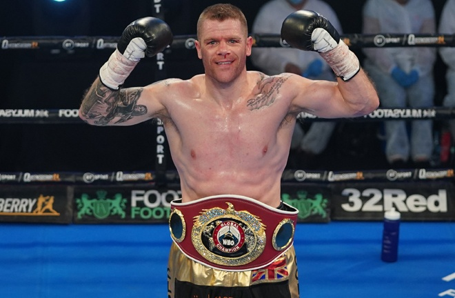 Johnson edged towards a second world title shot claiming the WBO Global Light Heavyweight title Photo Credit: Round 'N' Bout Media/Queensberry Promotions