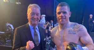 Callum Johnson alongside Promoter Frank Warren after his win over Emil Markic on Saturday Photo Credit: Twitter @CallumTheOne