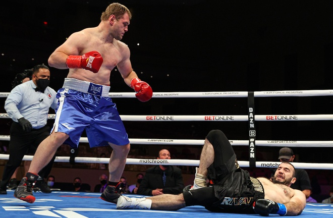 Andrey Fedosov produced an upset stopping Mahammadrasul Majidov in the opening round Photo Credit: Ed Mulholland/Matchroom