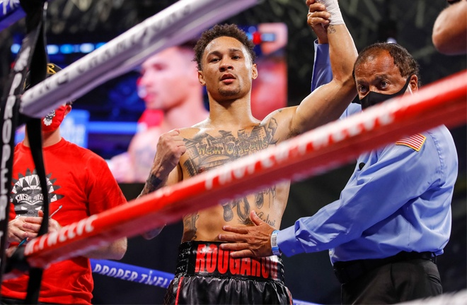 Regis Prograis stayed on course for another world title shot beating Ivan Redkach via a technical decision Photo Credit: Esther Lin/SHOWTIME