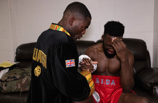 Buatsi consoles Dos Santos in the dressing room post-fight Photo Credit: Mark Robinson/Matchroom Boxing