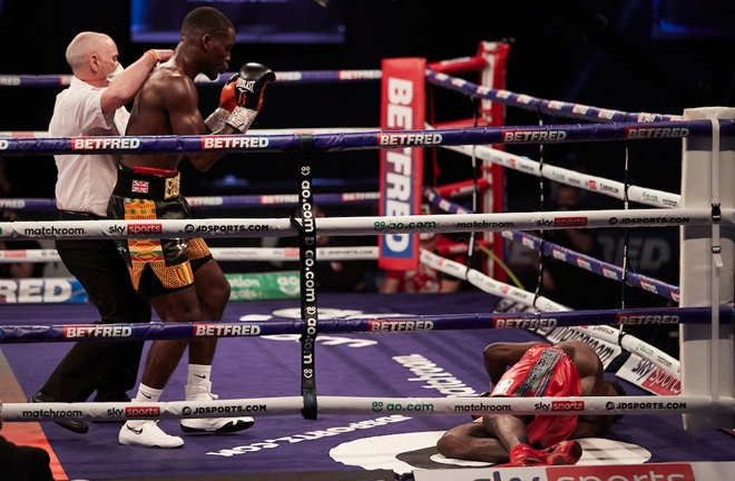 The Brit was apologetic after following up with another right hand Photo Credit: Mark Robinson/Matchroom Boxing