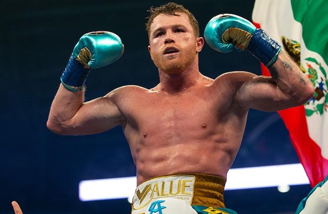 Canelo celebrates his seventh win over a British fighter Photo Credit: Michelle Farsi/Matchroom