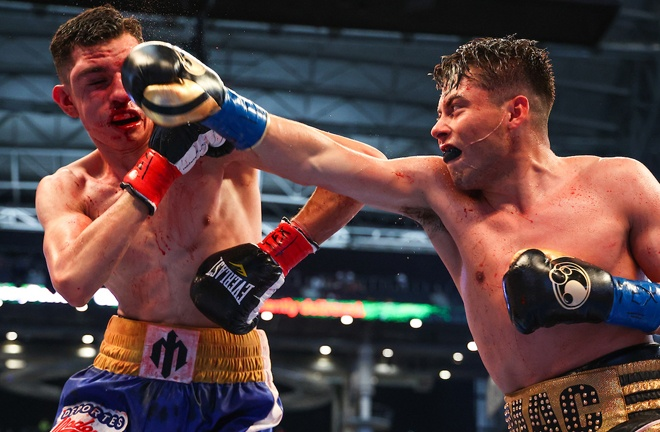 Marc Castro claimed a third successive professional victory by knockout Photo Credit: Ed Mulholland/Matchroom