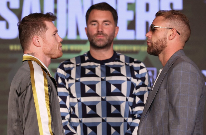 Canelo and Saunders will come face-to-face for the final time at Friday's weigh-in Photo Credit: Ed Mulholland/Matchroom