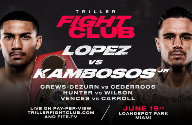 The Lightweight world title clash between Teofimo Lopez and George Kambosos Jr headlines a stacked card in Miami on June 19