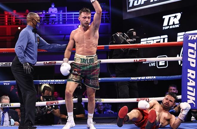 Taylor knocked Ramirez down twice Photo Credit: Mikey Williams/Top Rank via Getty Images