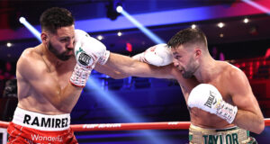 Josh Taylor battled past Jose Ramirez to become undisputed Super Lightweight champion in Las Vegas Photo Credit: Mikey Williams/Top Rank via Getty Images