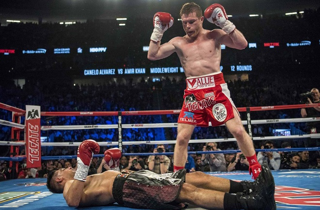 Canelo brutally knocked out Khan in 2016, who describes it as the hardest shot he has ever taken Photo Credit: REUTERS