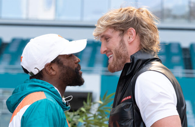 Floyd Mayweather meets Logan Paul in an exhibition on June 6 in Miami Photo Credit: proboxing-fans.com