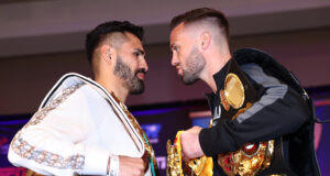 Jose Ramirez and Josh Taylor clash for all the belts at 140lbs in Las Vegas on Saturday night Photo Credit: Mikey Williams/Top Rank via Getty Images