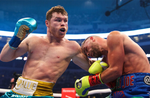 Canelo Alvarez secured an eighth round TKO over Billy Joe Saunders, who was unable to continue after an injury in Texas on Saturday Photo Credit: Ed Mulholland/Matchroom