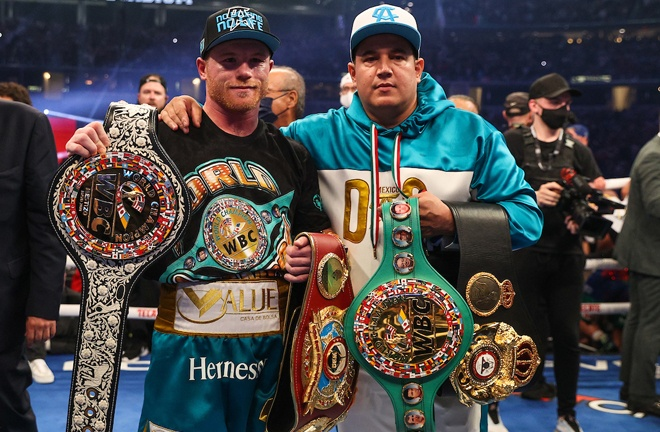 Canelo now holds three of the four major world titles at 168lbs Photo Credit: Ed Mulholland/Matchroom