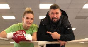 April Hunter alongside manager and former world champion, Tony Bellew Photo Credit: Instagram @aprilhunterboxing