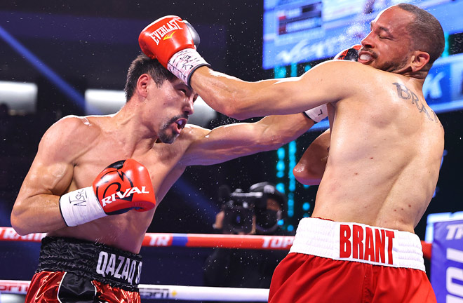 Zhanibek Alimkhanuly beat former Middleweight world champion, Rob Brant Photo Credit: Mikey Williams/Top Rank via Getty Images