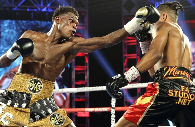 Richard Commey bounced back from defeat to Teofimo Lopez halting Jackson Marinez in six rounds in a Top Rank main event in February Photo Credit: Mikey Williams/Top Rank via Getty Images