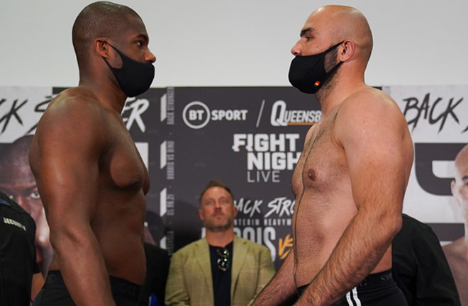 Dubois and Dinu faced off at Friday's weigh in ahead of their WBA Interim Heavyweight title clash Photo Credit: Round 'N' Bout Media/Queensberry Promotions