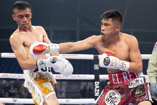 Julio Cesar Martinez overcame Joel Cordova to retain his WBC Flyweight crown Photo Credit: Ed Mulholland/Matchroom