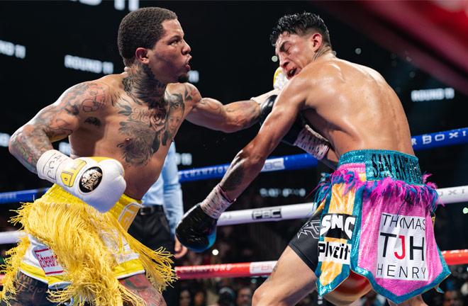 Gervonta Davis landed three knockdowns on route to stopping Mario Barrios in Atlanta on Saturday Photo Credit: Ryan Hafey/Premier Boxing Champions