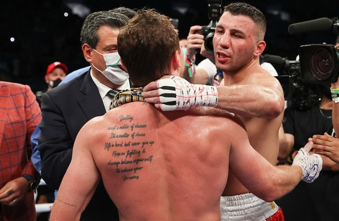 Yildirim embraced Canelo after his third round loss in February Photo Credit: Melina Pizano/Matchroom