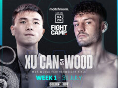 Xu Can defends his WBA 'Regular' featherweight world title against Leigh Wood at Matchroom's Fight on Saturday