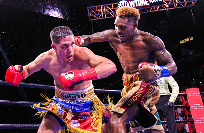 Charlo rallied in the latter stages and had Castano hurt during the tenth round Photo Credit: Leo Wilson / Premier Boxing Champions