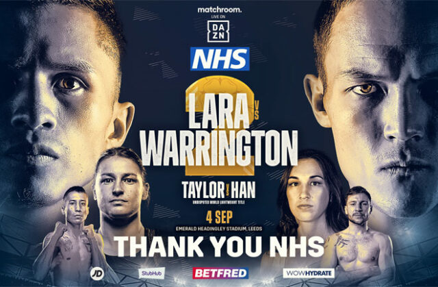Matchroom have announced they will donate 200 tickets to the NHS for Josh Warrington's rematch with Mauricio Lara on September 4th