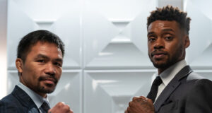 Manny Pacquiao and Errol Spence Jr pictured at the first press conference on Sunday ahead of their world title showdown on August 21st Photo Credit: Ryan Hafey/Premier Boxing Champions