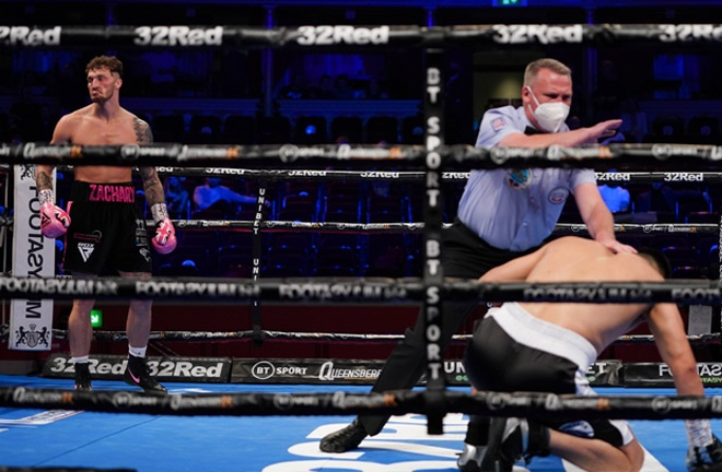 Zach Parker knocked out Sherzod Khusanov inside the opening round Photo Credit: Round 'N' Bout Media/Queensberry Promotions
