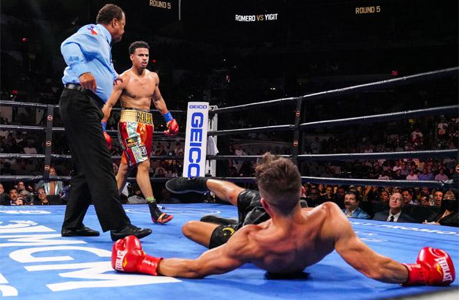 Rolando Romero knocked out Anthony Yigit in the seventh round to retain his WBA interim Lightweight title Photo Credit: Sean Michael Ham/TGB Promotions
