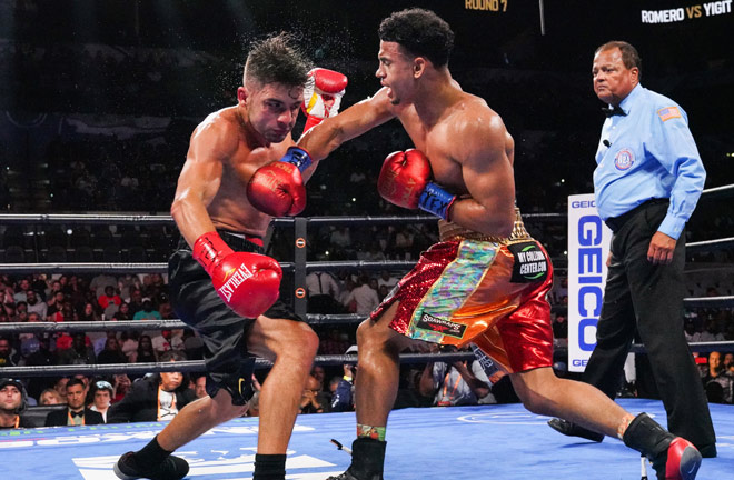 Romero secured his 14th straight win and 12th knockout against Yigit Photo Credit: Sean Michael Ham/TGB Promotions