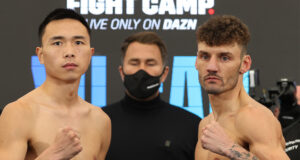 Leigh Wood challenges WBA 'Regular' Featherweight world champion, Xu Can at Fight Camp Photo Credit: Mark Robinson/Matchroom Boxing
