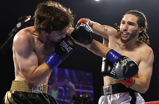 Muhammad Ali's grandson, Nico Ali Walsh scored a first round stoppage over Jordan Weeks on his pro debut Photo Credit: Mikey Williams/Top Rank via Getty Images