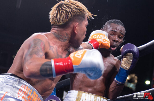 John Riel Casimero and Guillermo Rigondeaux trading blows for Casimero's WBO bantamweight title at the Dignity Health Sports Park in Carson, California.