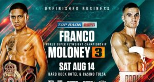 Joshua Franco and Andrew Moloney meet for the third time in Tulsa on Saturday night